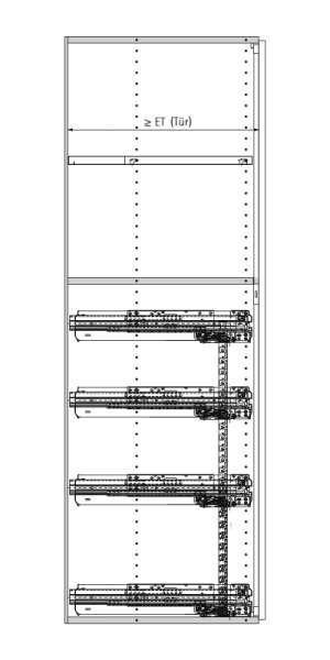 Konstruktionsbeispiel Breitwandschub Systema Top 2000 Schranktiefe 600