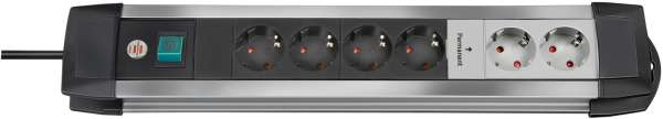 Steckdosenleiste Premium-Alu-Line Technik 6-fach, schaltbar, inkl. 2 Permanent-Steckdosen