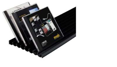 CD-Halter zum Ankleben, horizontale Fixierung, Länge 1050 mm, Aluminium Optik