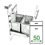 Abfalleimer, Frontauszug, 50 cm