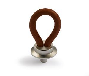 Möbelknopf Filaga 20 mm, Leder dunkelbraun, Vernickelt matt