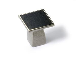 Möbelknopf Casoli 30 mm, Zinn Optik, Leder schwarz