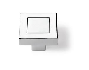 Möbelknopf Arimini, Verchromt glanz, Weiß